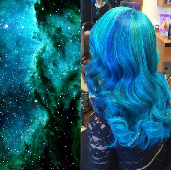 通常採用的是藍色+紫色混合的極光顏色,但是草綠色+藍色調和的色彩人氣也非常的高!