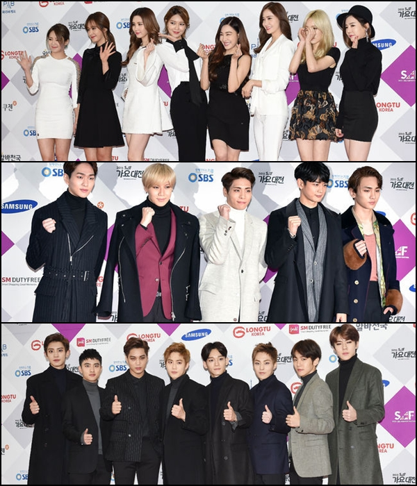 ◆ 少女時代:8 分 15 秒 ◆ SHINee:6 分 51 秒 ◆ EXO:8 分 13 秒 ------------------------------------ → SM 娛樂的總長數:23 分 19 秒(3 組藝人),Red Velvet 表演的時間只有 3 分 56 秒,所以沒有列在上面的數字中。