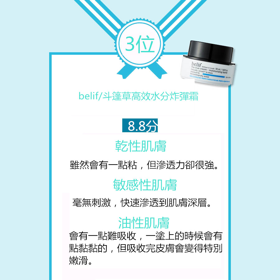 「belif」是韓國「LG生活健康」旗下於2010年推出的純天然草本護膚品牌,而這款保濕霜作為belif的明星產品,能即時補充肌膚水分,在肌膚表面形成保水膜,持續呵護肌膚。