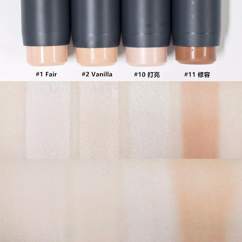 色號#1和#2是粉餅條,另外還有#3 Beige和#4 Sand兩種色號, 平常底妝是使用21號的美妞可以選擇#1或#2,使用23號的美妞則是#3或#4 另外,#11修容棒的顏色是比較偏紅的暖咖啡色