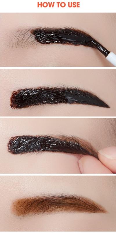就像畫眉毛一樣塗上厚厚一層,乾了之後就會變成膠狀, 把它撕下來後就會有紋眉的效果啦~ 店員說睡前塗隔天早上再撕掉的效果會比較好喔!