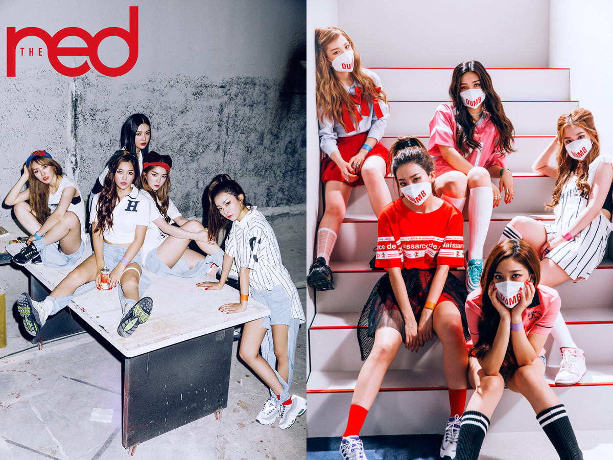 雖然一開始有點看不懂牛仔褲為什麼要從大腿破到小腿的風格,但是看久竟然也習慣了,Red Velvet這次就走一個看似很日常,但又驚見不平凡的look啊~