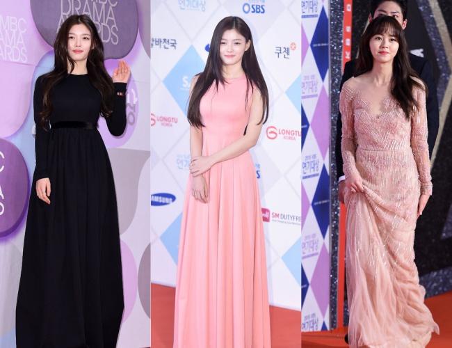 但在另一個紅毯上穿的黑色禮服, 因為深色與長袖的設計,整體看起來有些沈重 與她同齡的金所炫則選擇一件裸色紡紗禮服,略顯成熟