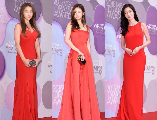 另外,高佑麗、姜素拉及韓善伙不約而同的都選擇了紅色禮服