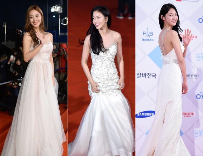 趙寶兒、慶收真及孔昇延則都選擇了最基本的白色禮服