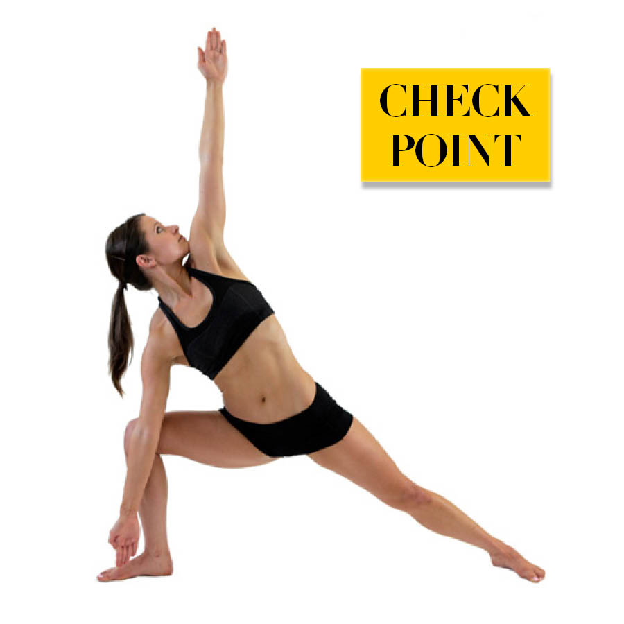做三角式時最需要注意的就是手腳的方向和全身的重心