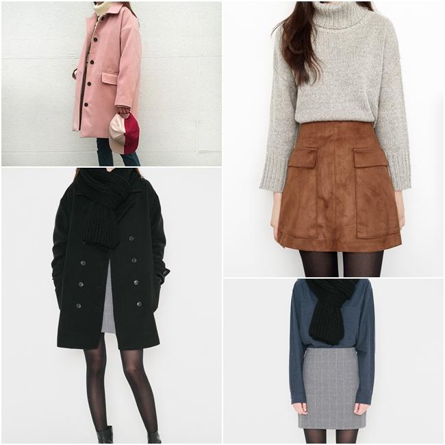 這個冬天最適合購入的單品,推薦大衣、針織衫與短裙!即使分開搭配也能產生很多種變化!