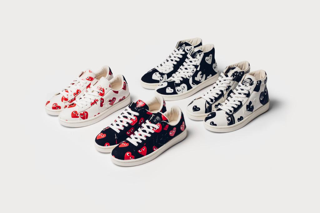 #1 Converse x Comme Des Garcons PLAY  Converse與川久保玲旗下的COMME des GARÇONS PLAY早就推出過一波 Chuck Taylor All Star '70 帆布鞋合作系列,不過最近又推出了以皮質為主,結合經典愛心圖案的四款鞋!