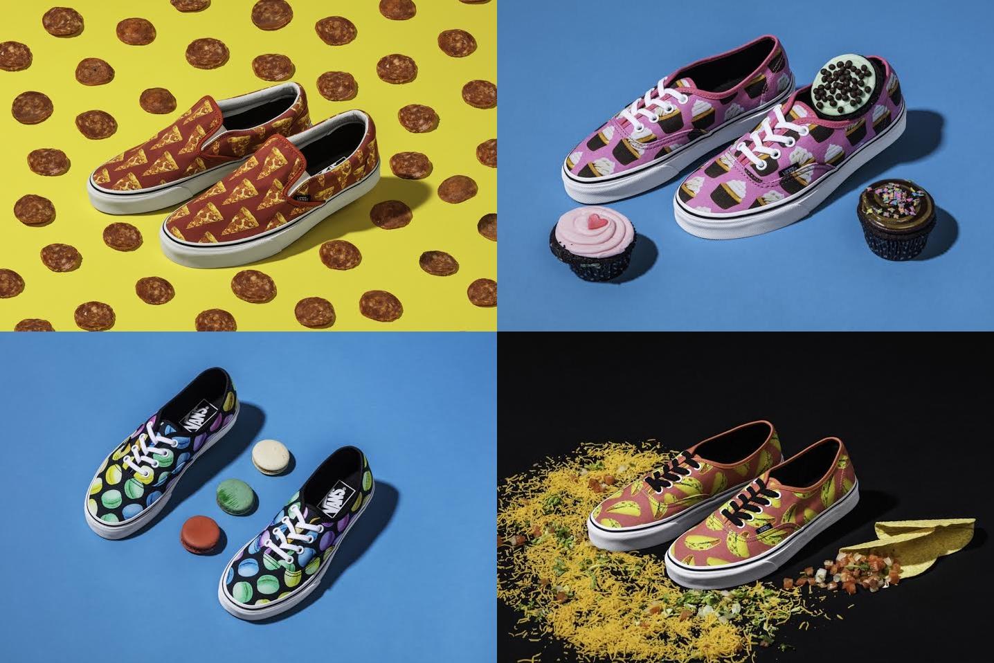 鞋款上滿布 Pizza、漢堡、薯條、甜甜圈、墨西哥捲、馬卡龍和杯型蛋糕等食物,適合喜歡搞怪風格的女孩!這款鞋連小孩款都有喔,好想買來送小朋友喔~~~