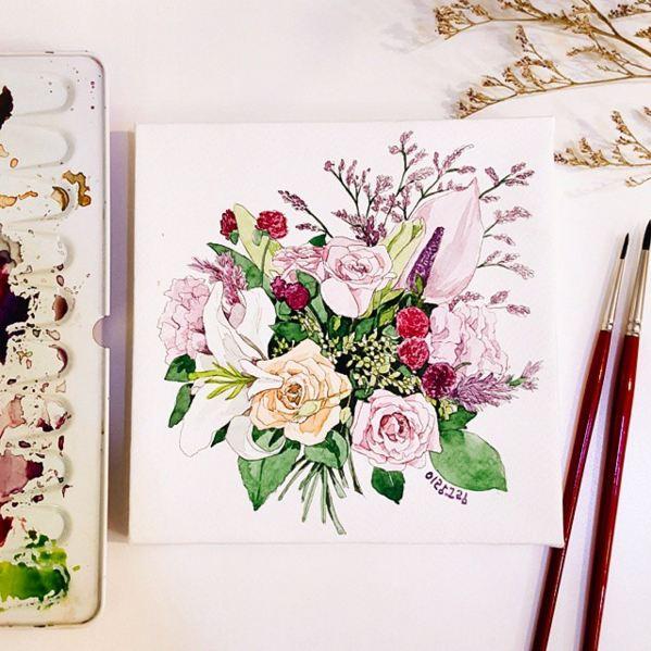 就想這樣...把剛才那束花描繪出來...♥