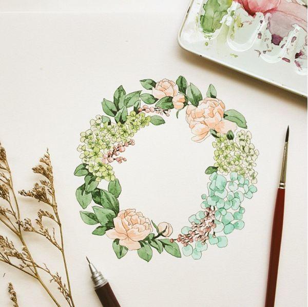 插畫師이랑還擅長畫花環....每天都有全新的畫作出自插畫師手...( ̄▽ ̄)