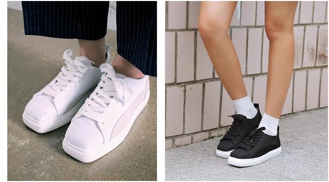 運動鞋有很多種形式,有時會出現可愛的鞋型設計,像是方頭的運動鞋就很趣味~ 就算是小黑鞋或小白鞋,也很與眾不同喔!