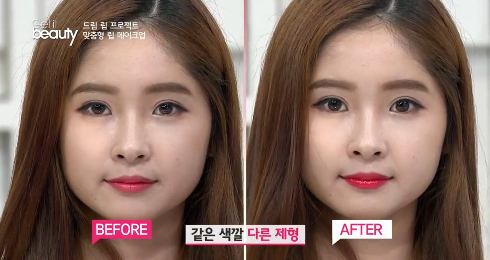 完成後是不是有些差別呢?具有螢光色調的顯色唇釉,還有提亮膚色的效果喔!