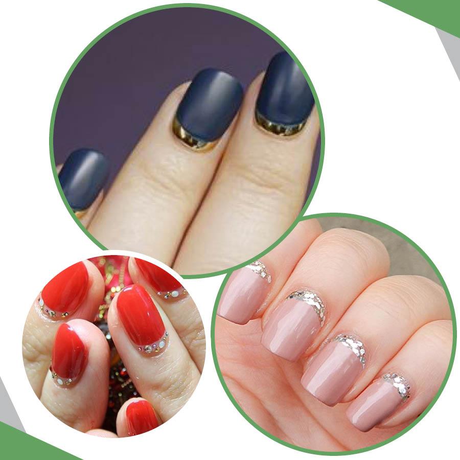 普通的法式美甲是點綴指甲前面,而這一款美甲剛好相反,是點綴指甲後面。