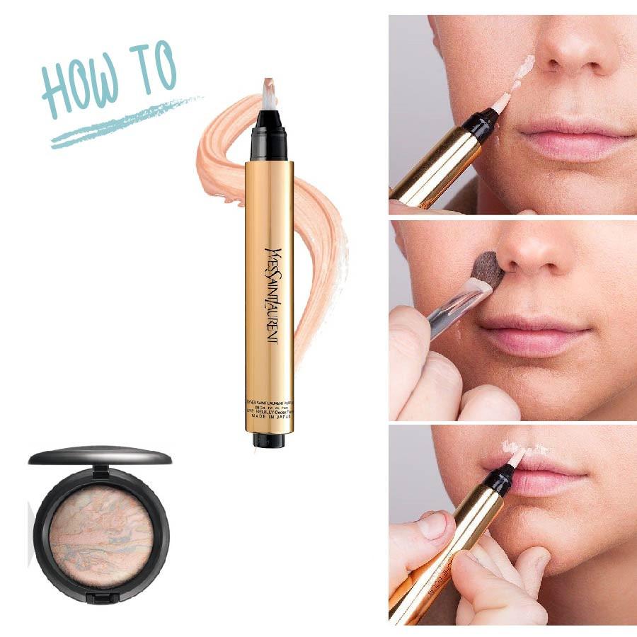用高光筆點在八字紋和嘴唇周圍,然後再用化妝刷暈開。比起高光粉,用高光筆畫的更精緻準確些。