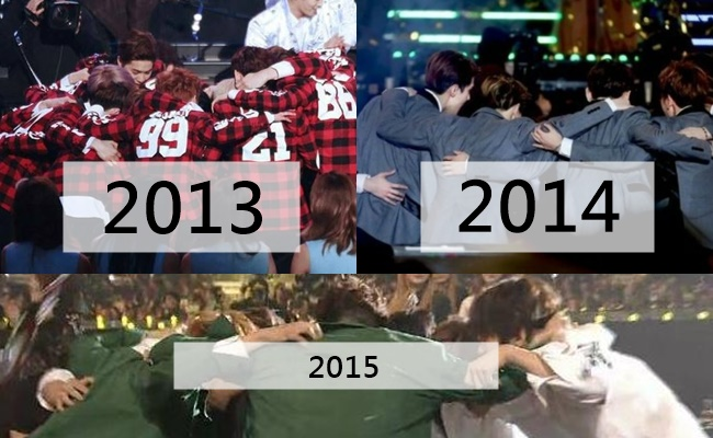 網友也將前兩年的照片與今年的照片放一起,感嘆著EXO驚人的實力