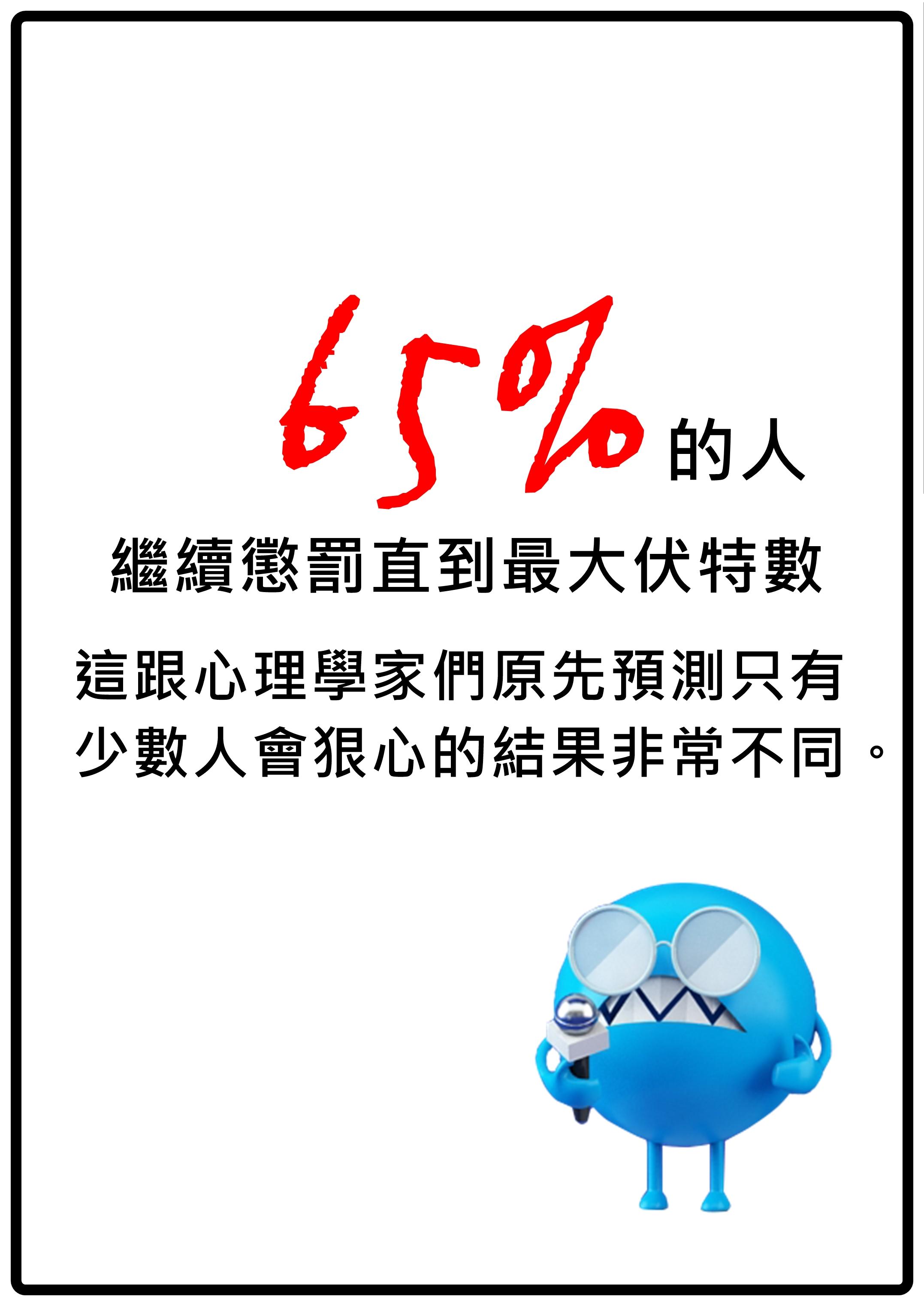後來相似的實驗都約有60-65%的人持續處罰到將電流開到最大。