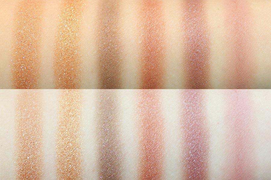 這是這六種色號依次畫在手臂上的效果 上面的是在自然光下,下面的是在室內燈光下。