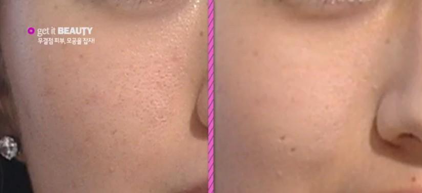 對比以下!上妝後的右圖,是不是毛孔瞬間縮小許多?