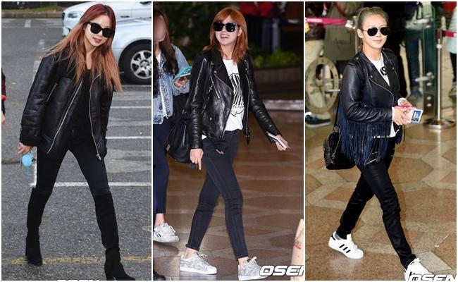 # 短皮衣 碰巧找到的範例都是同一種風格~剛剛好顯示出短皮衣 X 黑色緊身褲 X 休閒鞋的穿搭有多熱門!一身黑白的造型搭配墨鏡,成為最簡約同時也是最酷的女孩