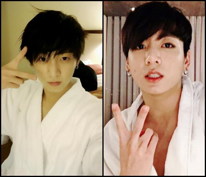 同樣的浴袍、同樣的 V;完全不同的眼神!