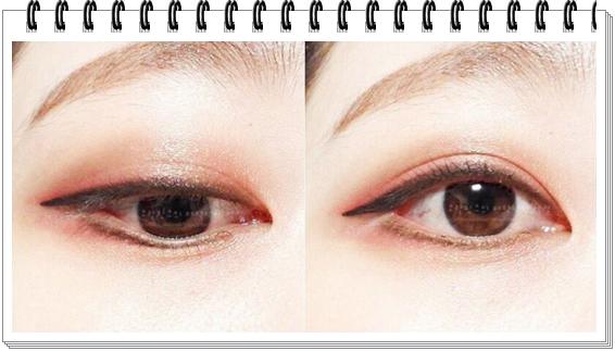 就連眼妝部分也是!感覺像是自然有光澤亮亮的,顏色趨向清爽,沒有很多層次堆疊,這樣透明帶光的眼神能夠讓女生看起來很可愛喔!