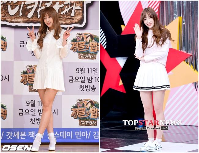HaNi相當適合白色的穿搭,去年也跟著流行趨勢駕馭了百褶裙造型