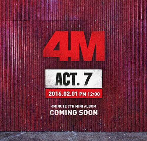 雖然中間有泫雅的solo ,但對歌迷來說怎麼夠? 這次即將發行的迷你七輯「Act.7」 將以泫雅最驕傲,即將邁向第7個年頭依舊完整的4Minute完全體回歸