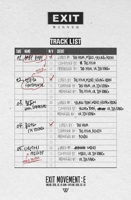 這次的專輯名再為「EXIT」,當然也是依舊同門BIGBANG和iKON模式,先出半專再出完全版。第一波雙主打也已經決定為「BABY BABY」和「센치해」最重要的是成員還參與了專輯的大部份創作啊!