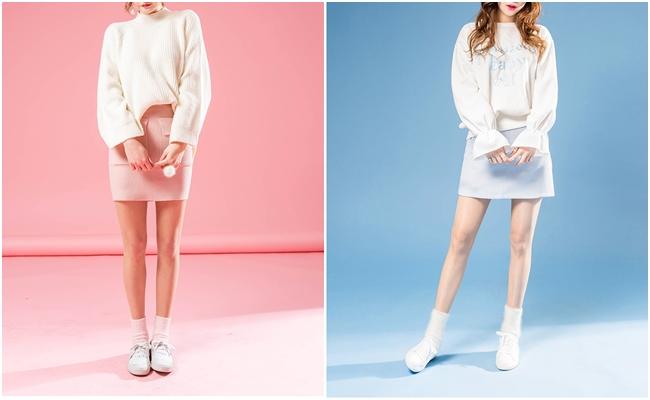 一件粉紅或是粉藍的裙子,不管搭配運動衫或是針織衫都能創造出微女神的氣息~超Q的!
