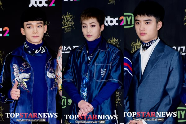Chen、Xiumin、D.O.也是同系列,因為都有一條藍色絲巾,他們想要走一種古典結合現代?還是老土想昇華為年輕化?都不夠有說服力啊~