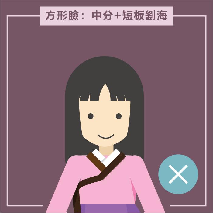 方形臉的姑娘,如果中分加上短板瀏海,會讓臉上出現角度,視覺上更方。