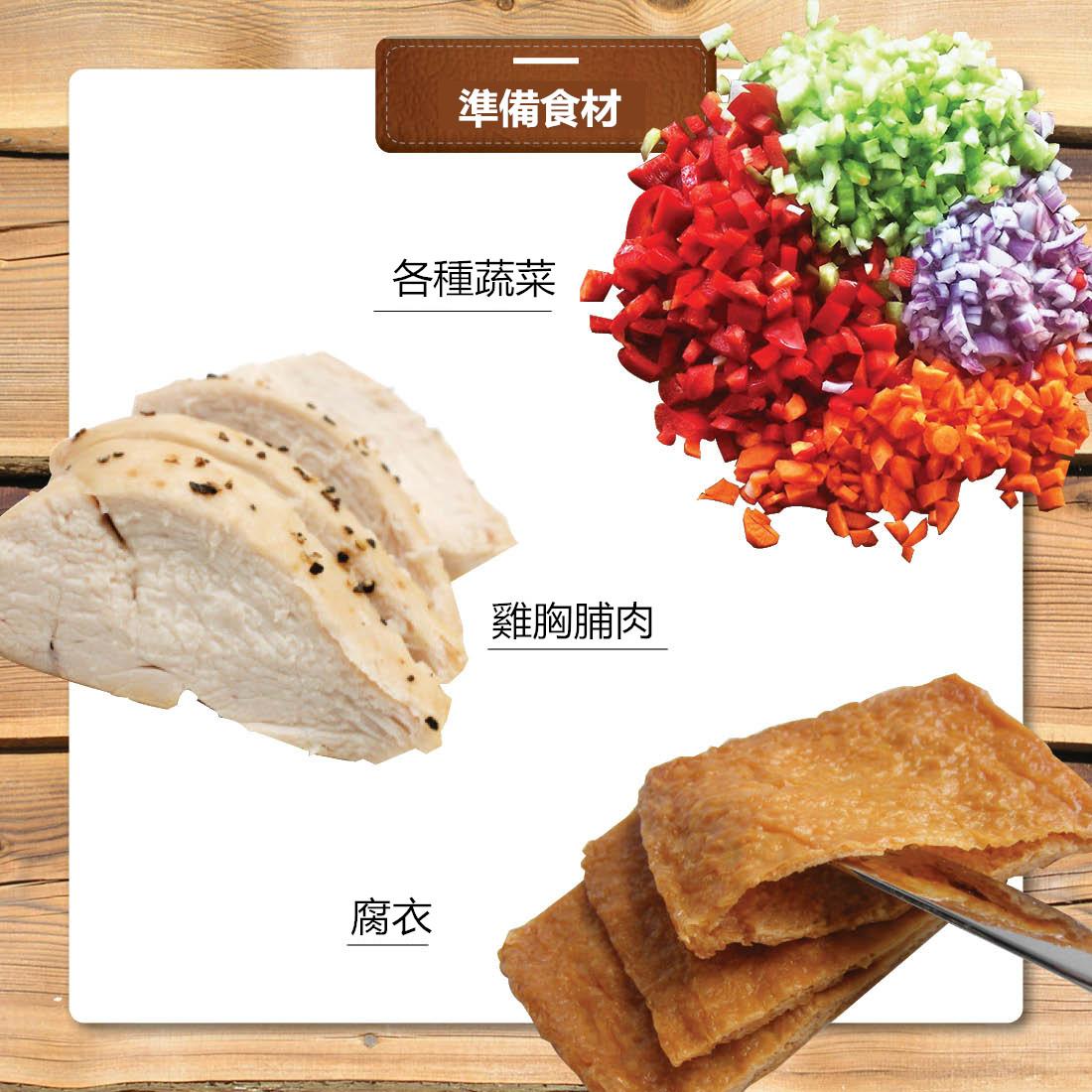 把雞胸肉先煎熟,然後選一些自己喜歡吃的蔬菜切成丁,豆腐皮去超市買現成的就好了!