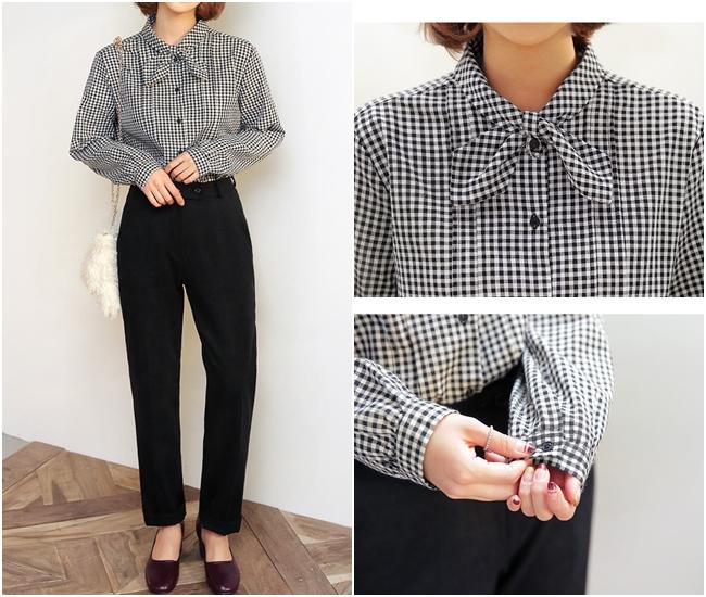 摩登少女喜歡的是這種復古風格的軟質格紋襯衫~看起來很有法國風情呢!