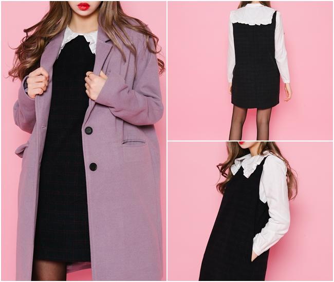 另外有點蘿莉風情的寬版領口、荷葉邊領口搭配背心裙是今年在韓國很流行的造型喔!