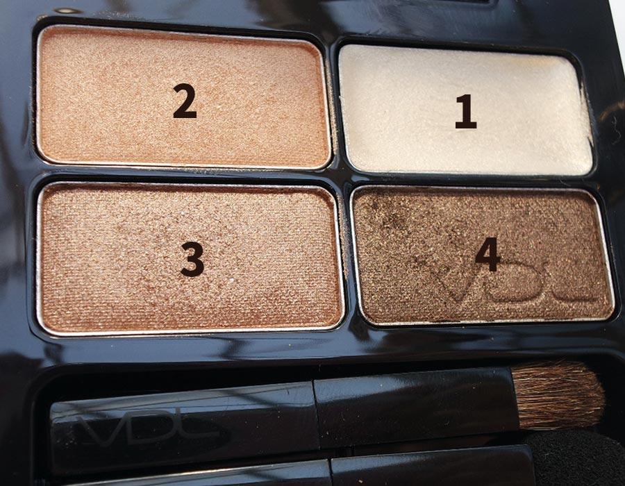 今天準備的化妝品也很簡單,首先要用到的是大地色的四色眼影盤,女孩們應該都會有這個最基本的眼影盤吧!使用順序小編已經標記好了。
