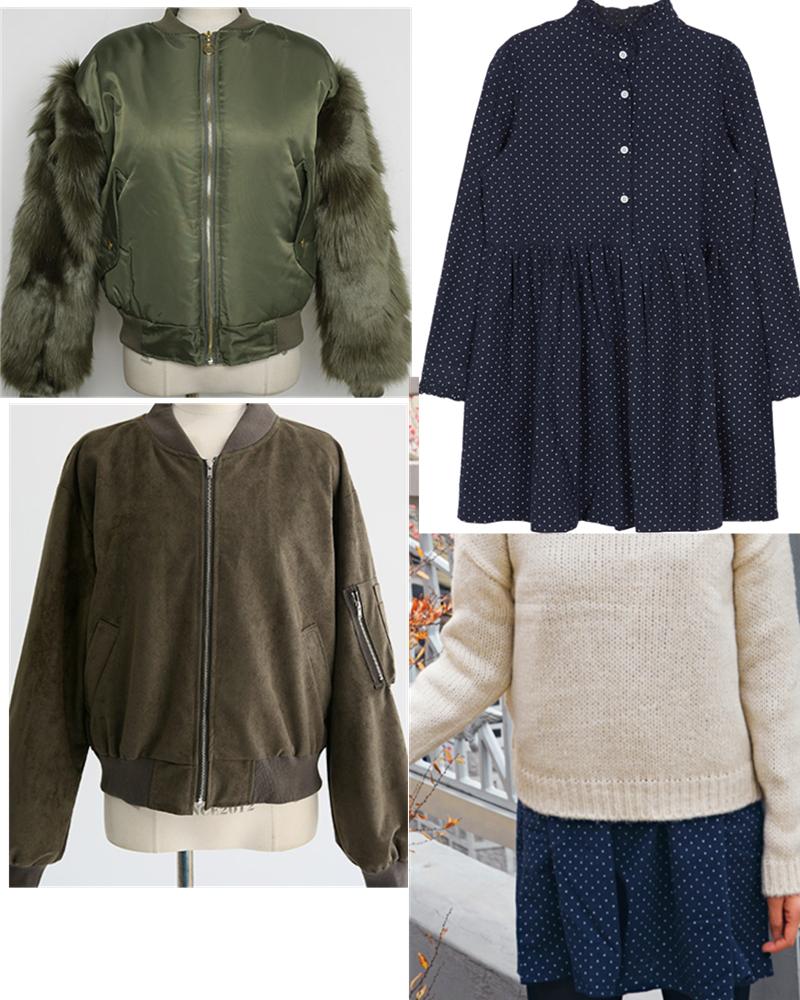 如果是洋裝搭配夾克外套,外套一定要是短款,最好是到肚臍的位置,這樣才能拉長下身比例,冬天的話,可以選這種衣袖上帶毛毛或者絨皮材質的來保暖,洋裝呢,到了春天可以直接外搭毛衣來穿。