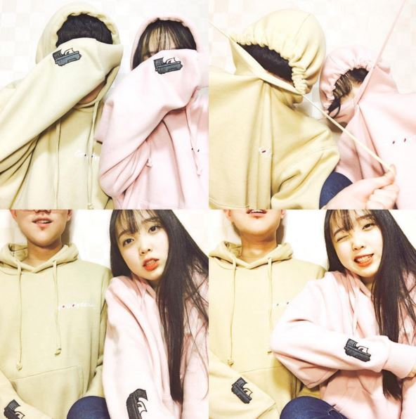 還有可愛的情侶衣~ 韓國人很喜歡這種同款但不同色的搭配
