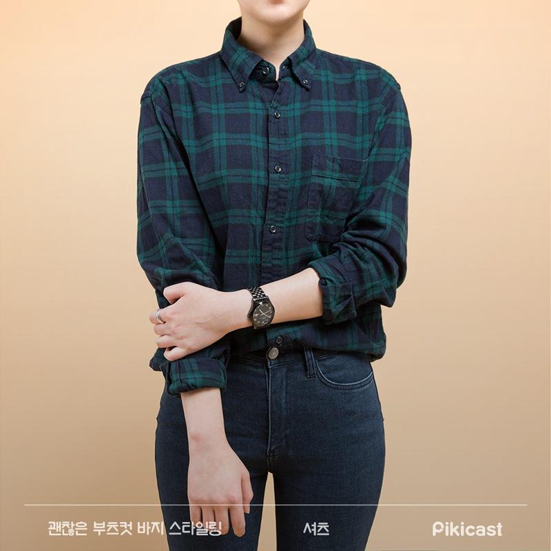 襯衣呢~小編喜歡大一號的size,穿起來更隨性一點,衣袖也可以挽起來,除非你氣場夠強大,或者顏值夠高,不然,襯衣最好別選丹寧款的,最容易搭的就是格紋。