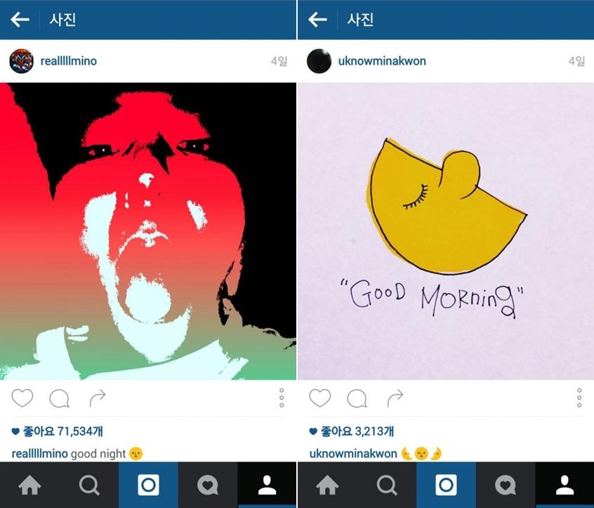 MINO在文字敘述上打上晚安,Mina Kwon則是上傳了有早安字樣的圖案