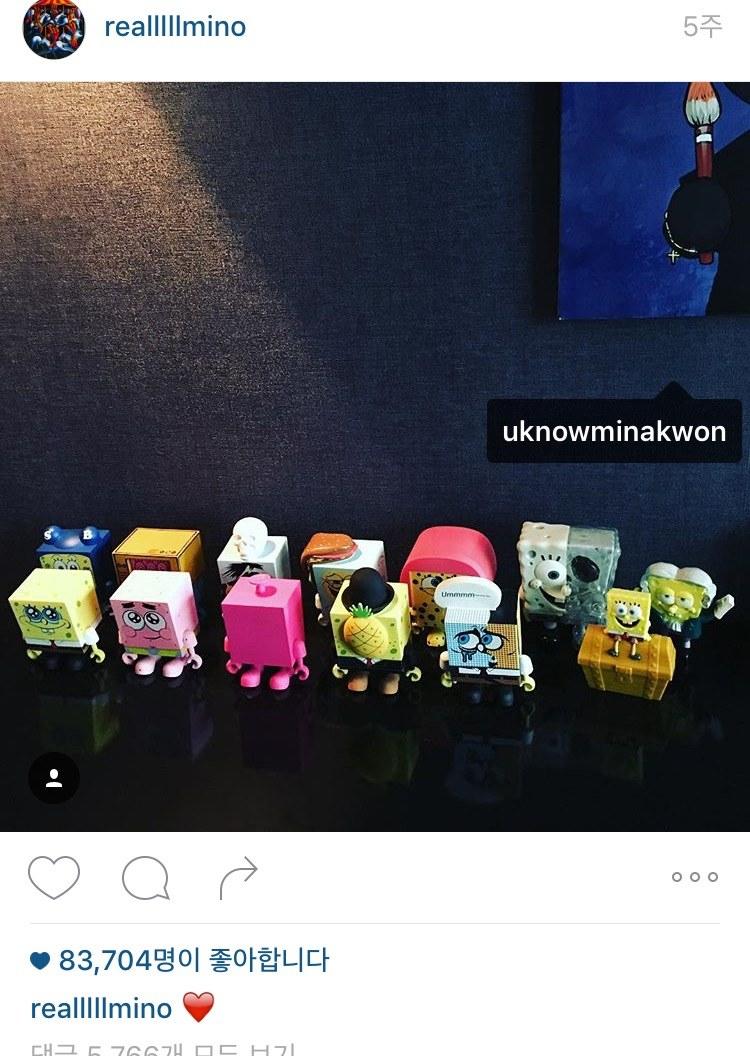 MINO上傳的照片中tag了Mina Kwon,文字敘述還打上愛心,韓國網友質問這代表什麼意思?