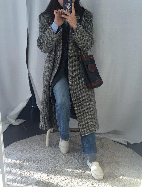 超長大衣+格紋西外+皮革側背包 J小編的英倫古著look完成啦!:-)