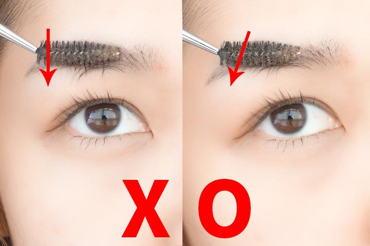 用眉刷按眉毛的時候要注意:不要垂直向下用力,而是順著眉毛生長的方向斜著用力。