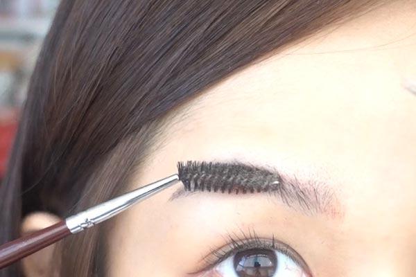 同樣的方法,用眉毛刷再向上按壓一下眉毛,修剪去長出來的部分。