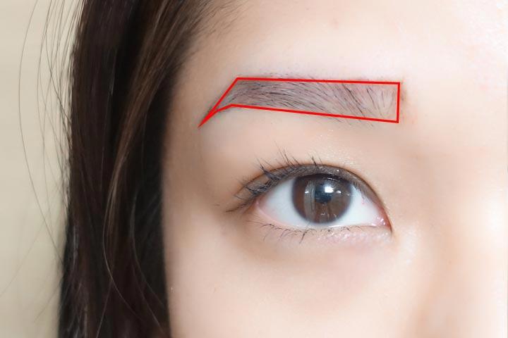 以防失誤,先用眉筆畫出大概的模樣來。馬上來教大家怎麼找準一字眉的眉型。