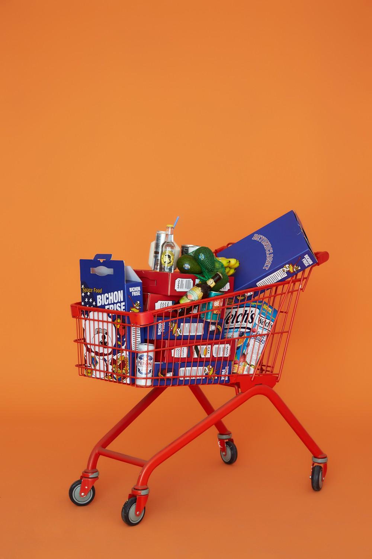 這次的新品主題主要是以各種食品包裝所衍伸出的設計,概念照也以一個購物推車來詮釋