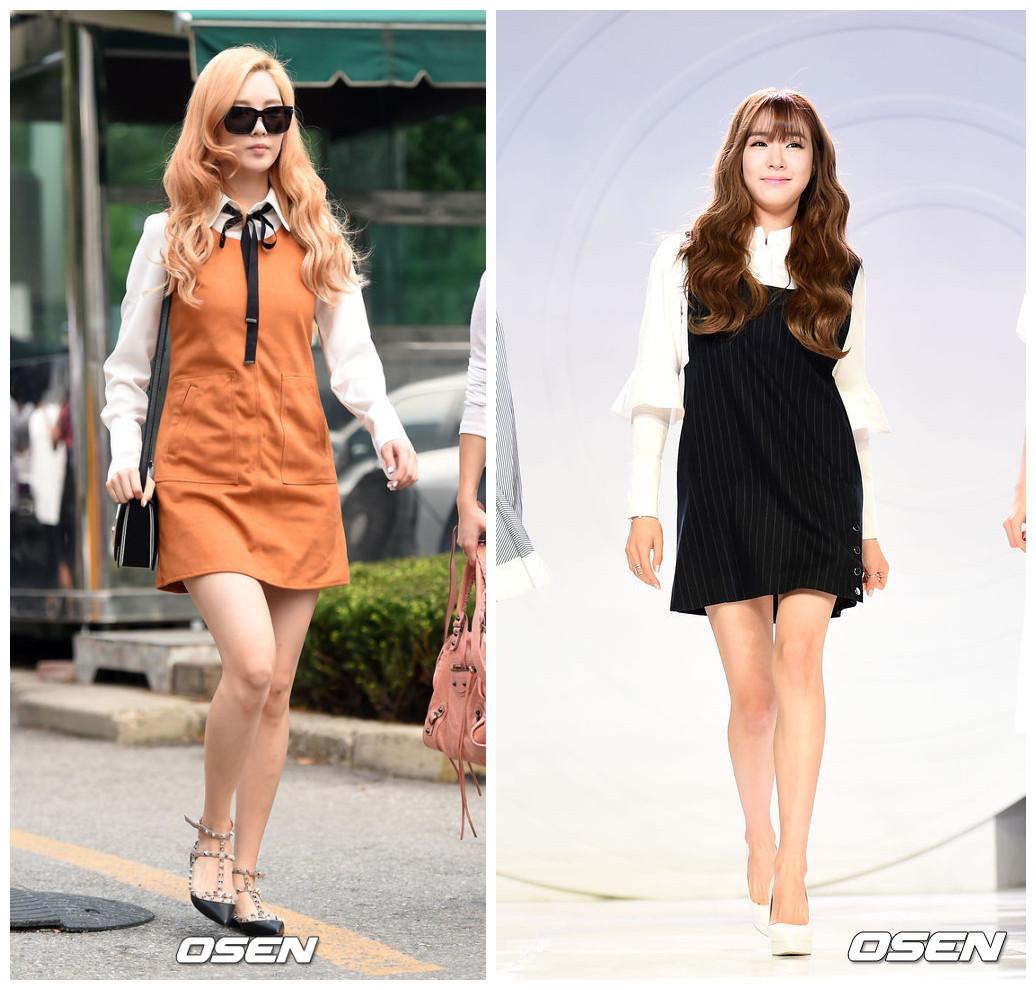 3.背心裙 韓國現在很流行百搭的學院風復古背心裙,配上不同的上身可以展現出不一樣的風格。