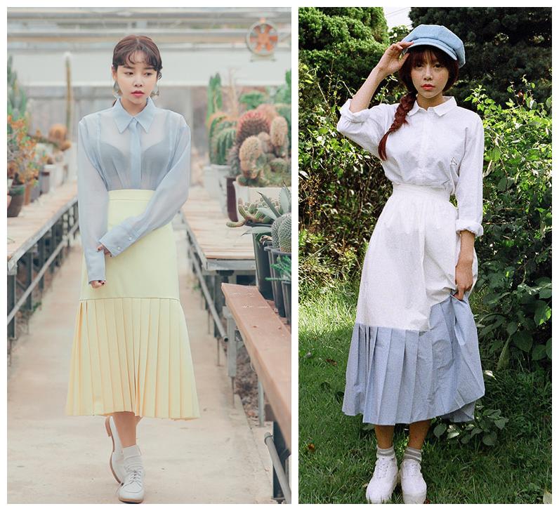 今年開始這種半百褶裙也開始流行起來,有上下統一色的,還有拼色的,個性而甜美。
