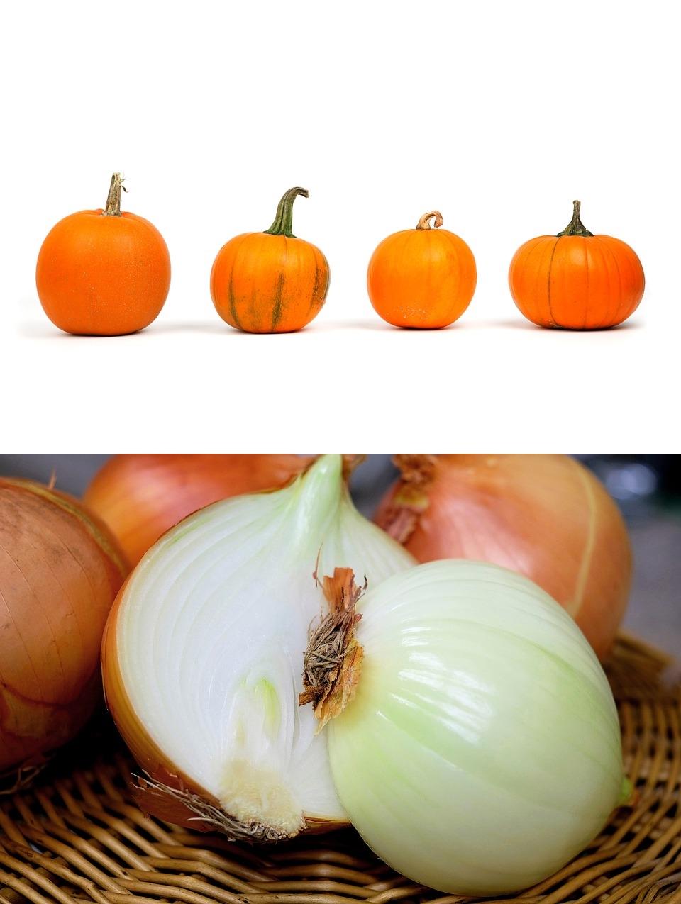 南瓜與洋蔥,南瓜除了可以幫助入眠,還能明目、減肥喔!