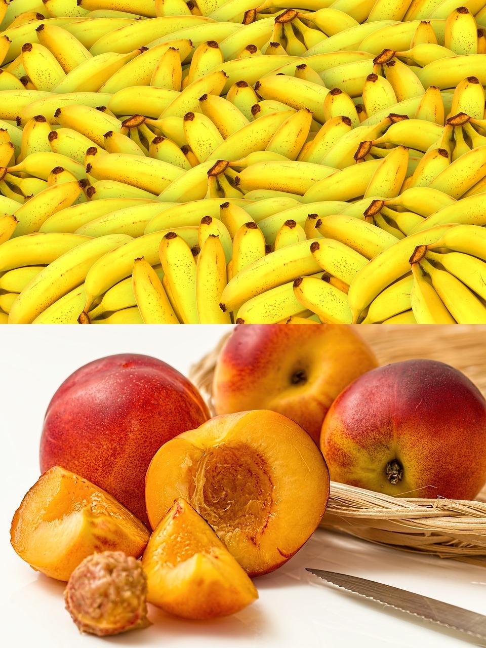 最後是香蕉與水蜜桃!睡前一根香蕉是好的,因為香蕉是色胺酸含量最高和含鎂的水果,能夠改善失眠的問題~